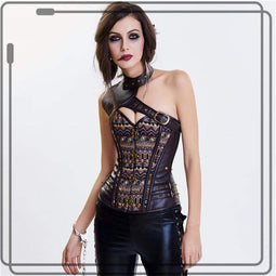 Kobine Women's Steampunk Slash Shoulder Contrast Color Overbust Corsets