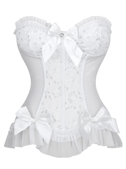 Kobine Women's Sweetheart Floral Jacquard Wedding Bridal Corset Bustier Top