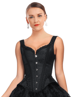 Kobine Women's Victorian Gothic Jacquard Bustier Overbust Corset with Straps