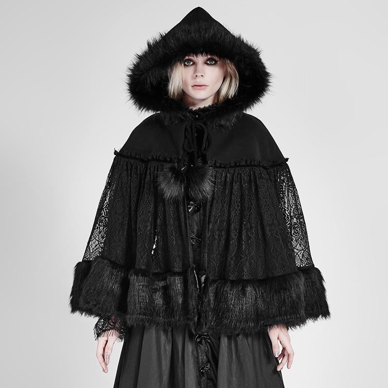 Women's Lolita Sheer Floral Lace Hooded Woollen Cloak-Punk Design