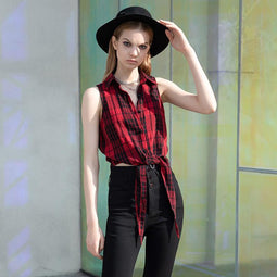PR-A Women's Asymmeticle Hem Sleeveless Plaid Shirts