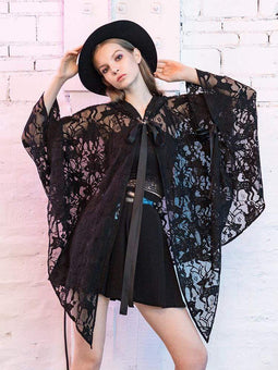 PR-A Women's Deer Button Casual Casual Floral Lace Cloaks