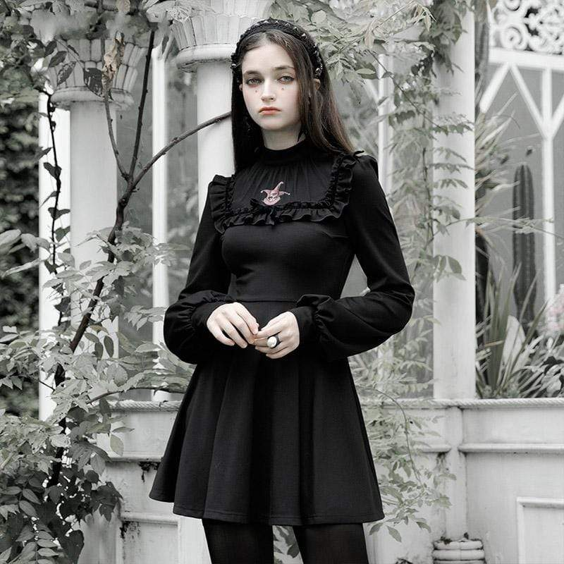 PR-A Women's Goth Vintage Long Sleeved Clown Printed Ruffles Dresses | Stay at Home Mum