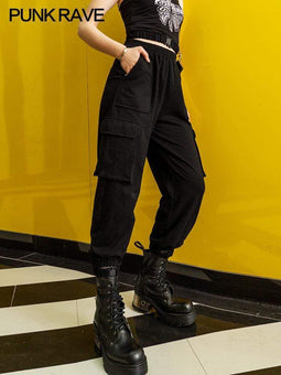PR-A Women's Gothic Buckles Casual Cargo Pants
