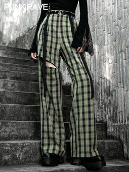 PR-A Women's Gothic Cutout Casual Plaid Pants With Belt
