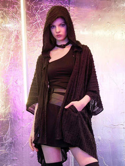 pr-a Women's Gothic Half Sleeved Hooded Frayed Cloaks