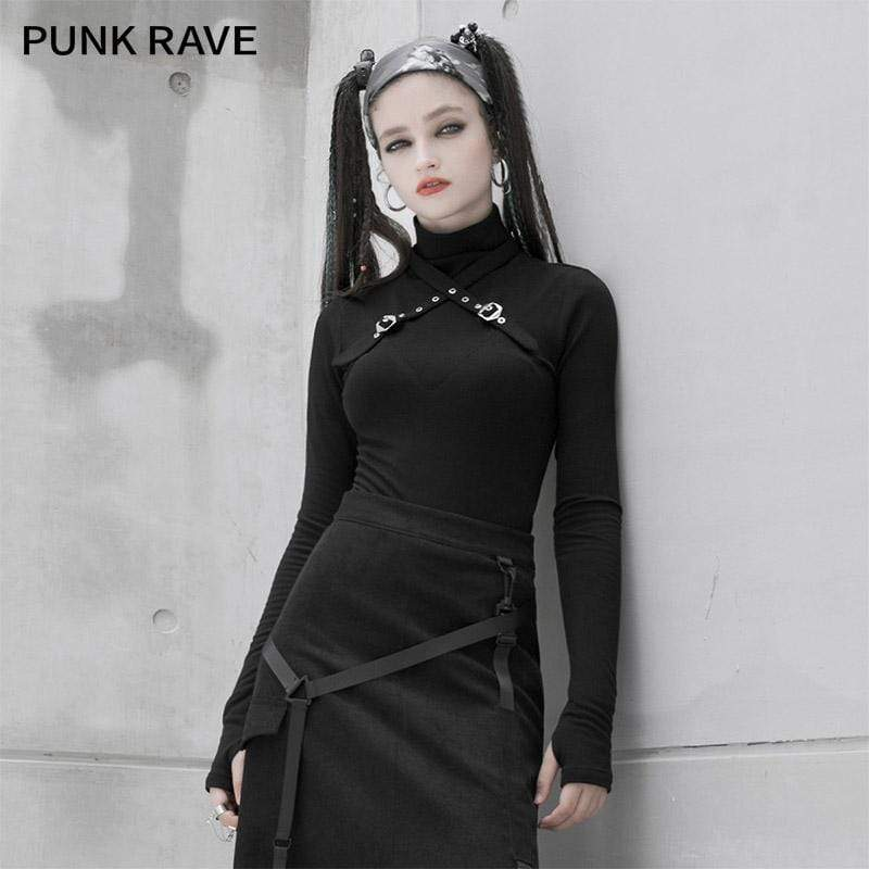 PR-A Women's Gothic High Collar Long Sleeved Tees