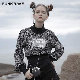 PR-A Women's Gothic High Collar Zebra-striped Short Sweatshirts