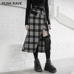 PR-A Women's Gothic High-waisted Plaid Slit Long Skirts