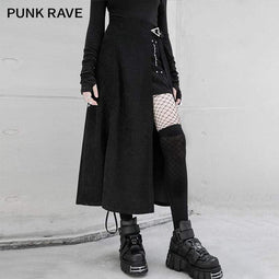 PR-A Women's Gothic High-waisted Slit Long Skirts