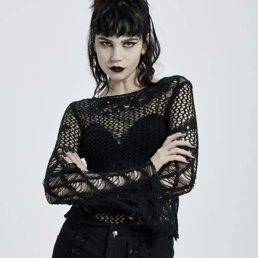 PR-A Damen Gothic Irregular Hollow Flare Sleeved Kitted Tops