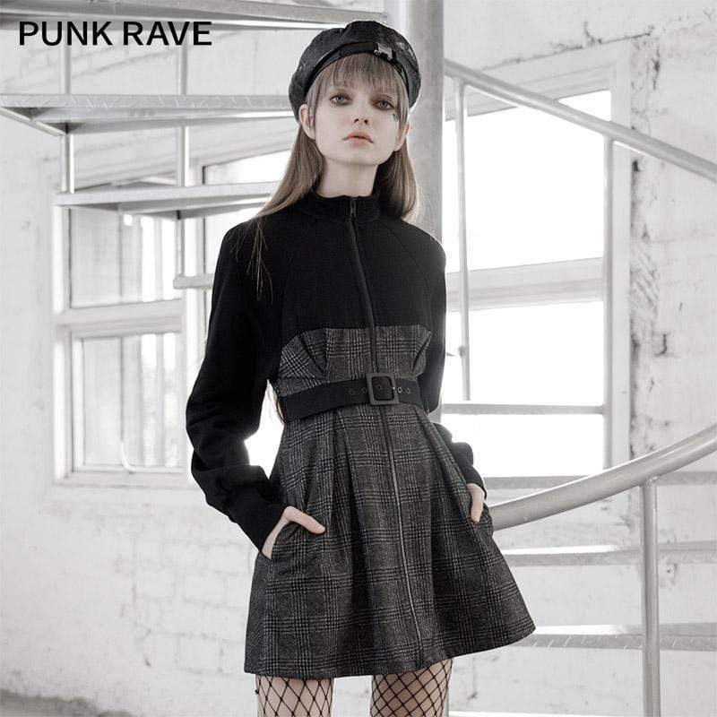 PR-A Women's Gothic Long Sleeved Plaid Slim-fitted Dresses