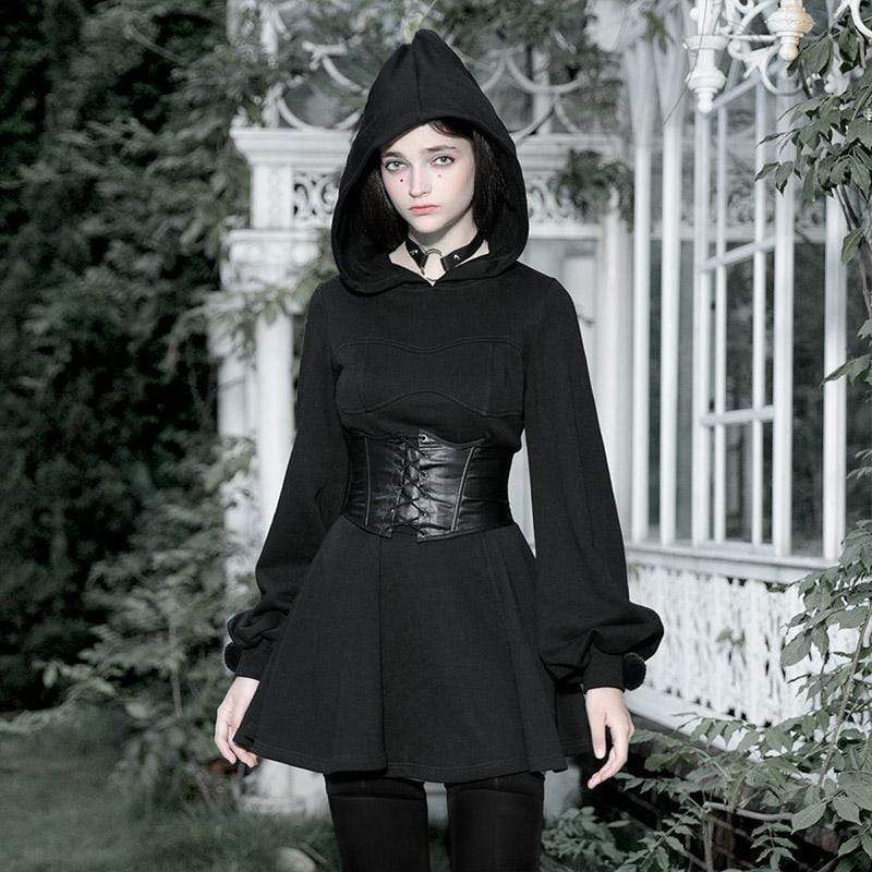 PR-A Women's Gothic Long Sleeved Witch Hood Dresses