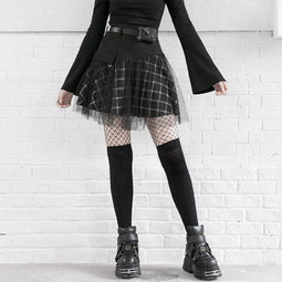 PR-A Women's Gothic Mess Overskirt Plaid Skirts
