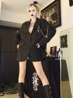 PR-A Women's Gothic Oversize Suit Coats With Chain