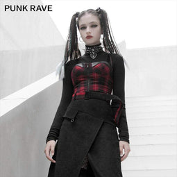 PR-A Women's Gothic Plaid Tube Tops With Front-zip