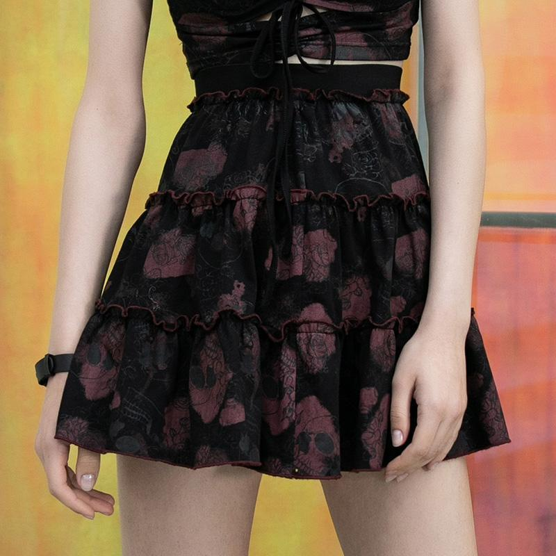 PR-A Women's Gothic Rose&Skull Printed Ruffled Skirts