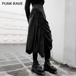 PR-A Women's Gothic Solid Ruched Long Skirts