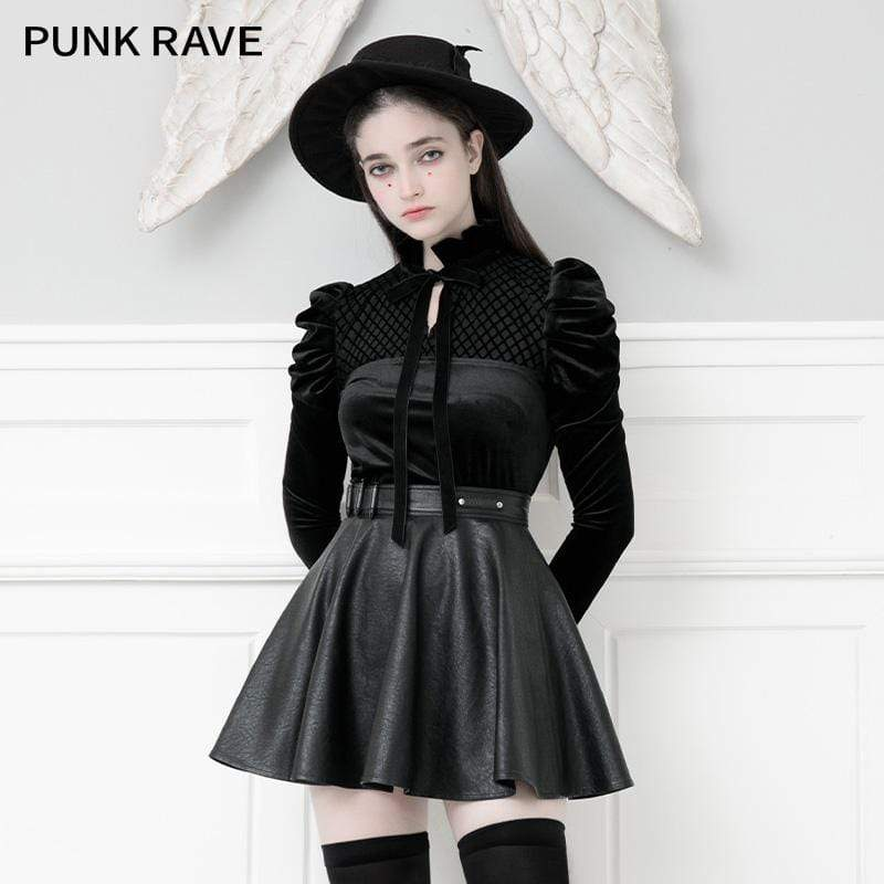 PR-A Women's Gothic Stand Collar Lace-up Leg-of-mutton Sleeved Velvet Tops