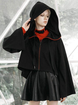 PR-A Manteaux courts Gothic Zipper Fly Hooded Witch pour femmes