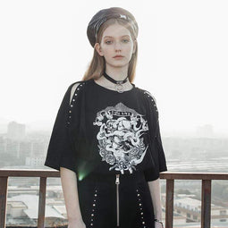 PR-A Women's Grunge Angel Printed Off Shoulder Black Casual Tees