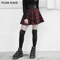 PR-A Women's Grunge Contrast Color Plaid A-line Skirts