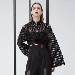 PR-A Kobiety Grunge Hollow Batwing Sleeves Casual Mesh Tops