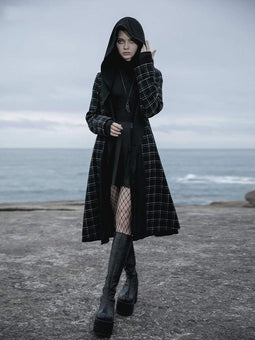 PR-A Damen Grunge Lofty Hoodied Plaid Casual Coats