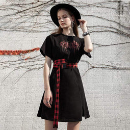 PR-A Women's Grunge Love Heart Printed Black Shirt Dresses with Red Plaid Belts