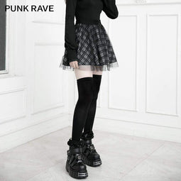 PR-A Women's Grunge Mesh Double Layered Plaid Skirts