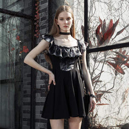PR-A Women's Grunge Off Shoulder Ruffles Pleated Dresses