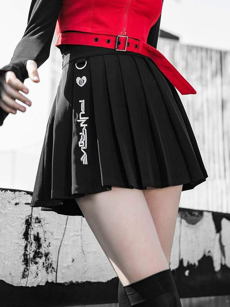 PR-A Women's Grunge Plaid Embroidered Pleated Skirts With Detachable Belt