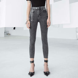 PR-A Women 's Grunge Ripped Gray Skinny Jeans with Moon Chain