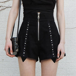 PR-A Women's Grunge Rivets High-waisted A-line Shorts