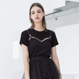 PR-A Damen Grunge Sheer Casual Black Tees