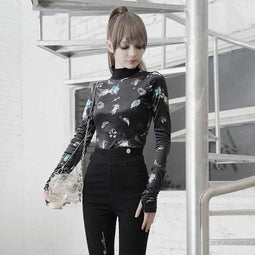 PR-A Women's Grunge Stand Collar Long Sleeved Mitt Cartoon Printed Tops