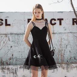 PR-A Women's Grunge Star Moon Printed Mesh Hem Black Slip Dresses