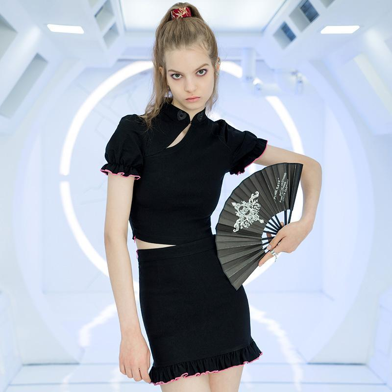 pr-a Women's Mandarin Collar Latern Sleeved Ruffled Crop Tops