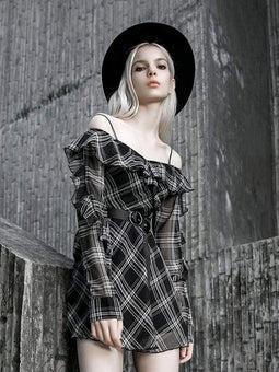 PR-A Women's Off-shoulder Ruched Plaid Dresses With Belt