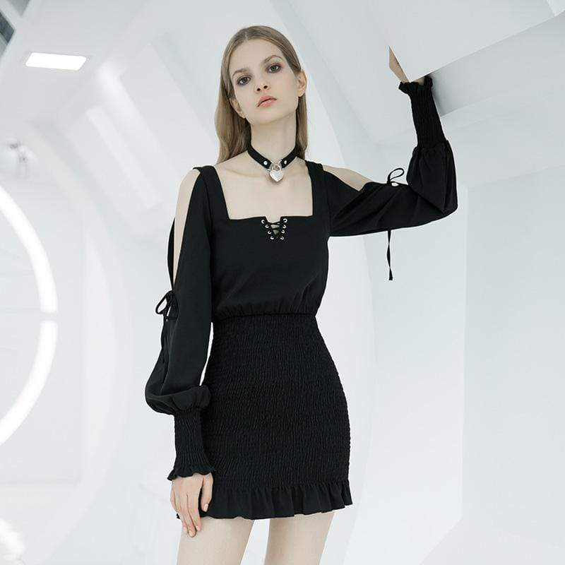 PR-A Women's Off-shoulder Square Collar Lace-up Ruched Dresses