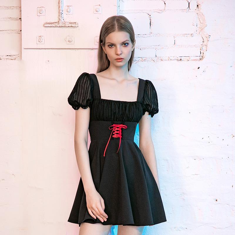 pr-a Women's Square Collar Lace-up Sheer A-line Dresses