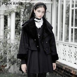 PR-A Women's Vintage Gorgeous Downy Collar Short Coat With Belt