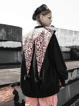 PR-A Women's Zipper-fly Contrast Colour Leopard Printed Coats