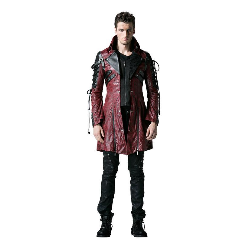 Men's Punk Studded Faux Leather Zipper Jacket Red - PunkDesign