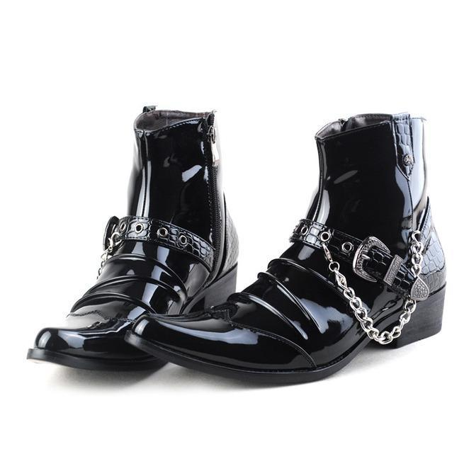Men's Buckle Strap Chain Faux Leather Side Zipper Shoes Pointed Toe Boots - PunkDesign