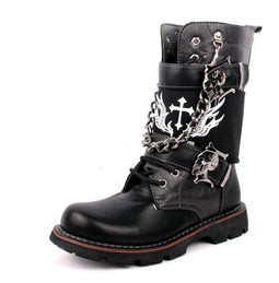 Men's Buckle Strap Lining Lace Up Punk Chain Army Boots Martin Boots - PunkDesign