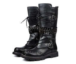 Men's Buckle Up Bullets Zipper Faux Leather Motorcycle Boots - PunkDesign