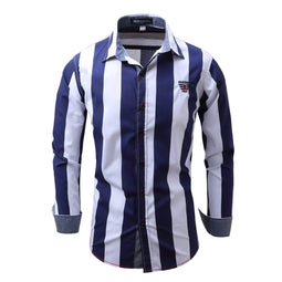 PUNK DESIGN Men's Colorblock Stripe Slim Fitted Long Sleeve Shirt