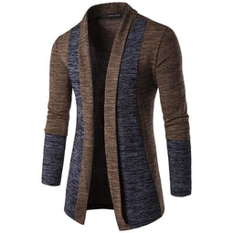 PUNK DESIGN Men's Fashion Shawl Collar Contrast Open Front Longline Cardigan