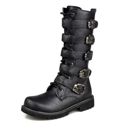 Men's Faux Leather Martin Boots With Adjustable Buckles - PunkDesign